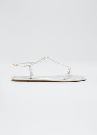 Shimmery T-Strap Flat Sandals
