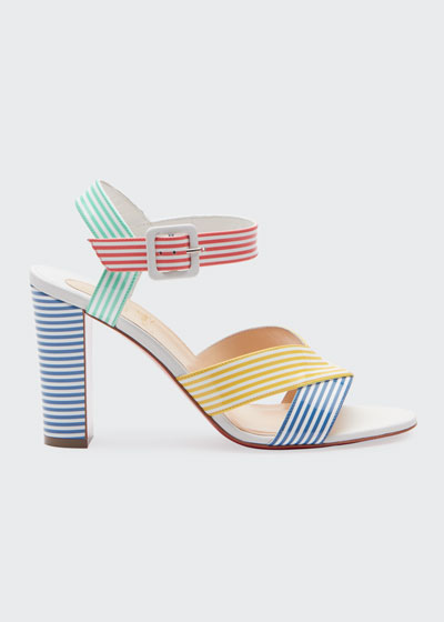 Palavas Multicolored Striped 85mm Red Sole Sandals