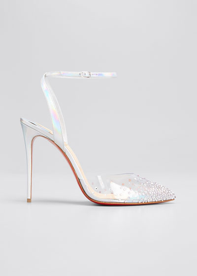 100mm Spikaqueen Iridescent Red Sole Pumps