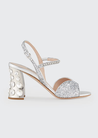85mm Metallic Glitter Mirrored-Heel Sandals