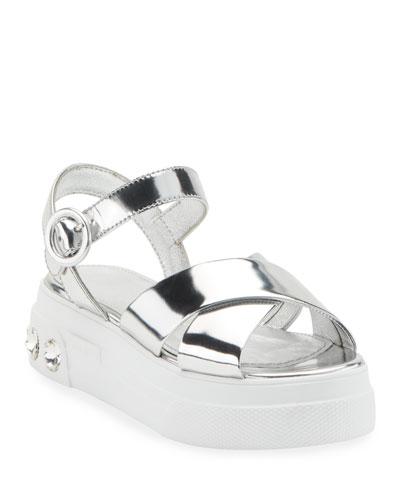 Metallic Leather Flatform Sandals
