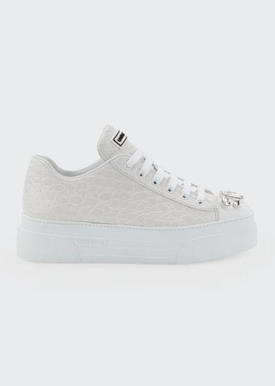Crocodile-Embossed Platform Sneakers