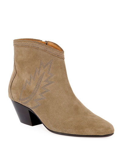Dacken Suede Booties with Flame Stitching