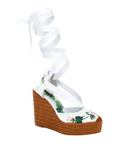 Floral Wrap Wedge Espadrilles