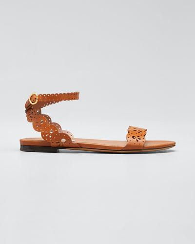 Bobbin Cutout Flat Sandals