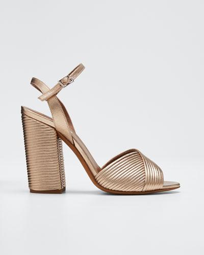 Kali Metallic Ankle  Heeled Sandals