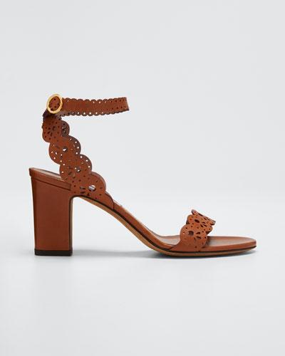 Bobbin Scallop Ankle Heeled Sandals