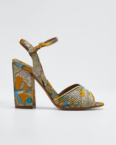 Kali Floral Block-Heel Sandals