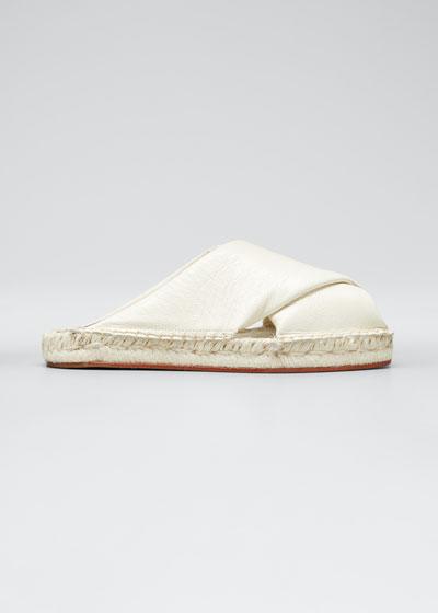 Leather Peep-Toe Espadrille Slide Sandals, White