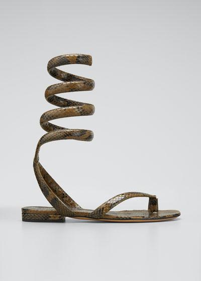 Python-Print Coil Flat Sandals
