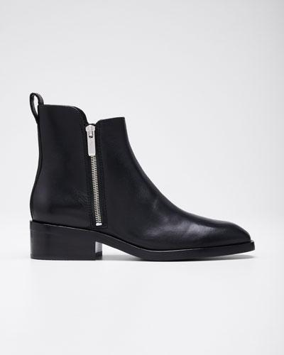 Alexa Leather Zip Booties