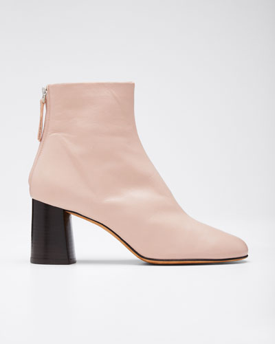 Nadia Leather Zip Booties, Blush