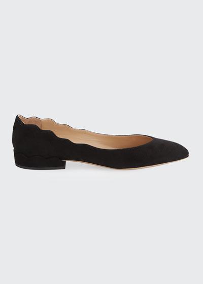 Laurena Scalloped Suede Ballet Flats