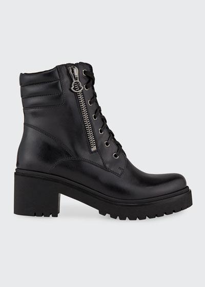 Viviane Block-Heel Leather Boots w/ Side Zip