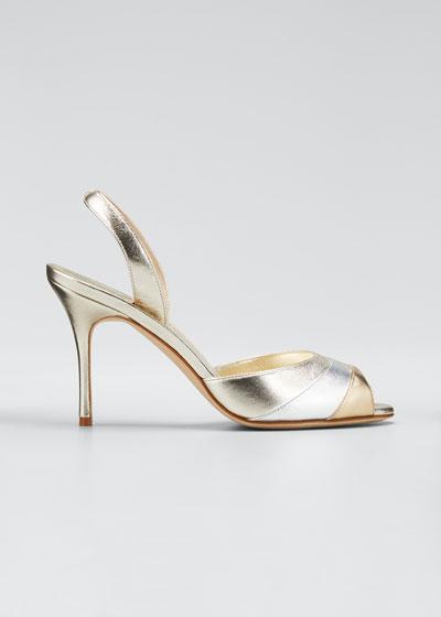 Meteora 90mm Metallic Leather Sandals