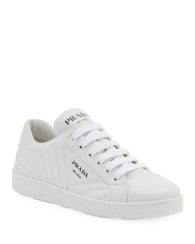 Quilted Leather Logo Sneakers
