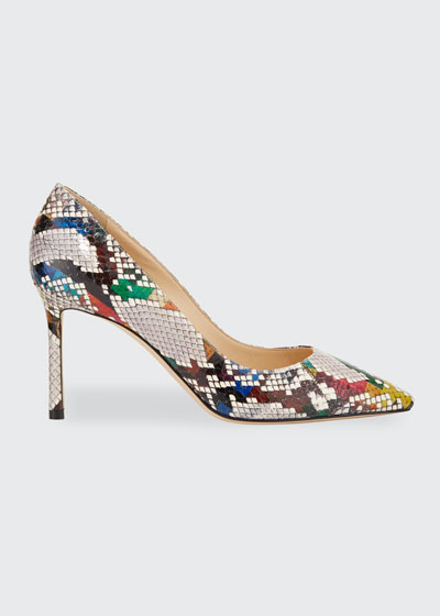 Romy 85mm Snake-Print Pumps
