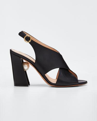Miri Crisscross Slingback Sandals, Black