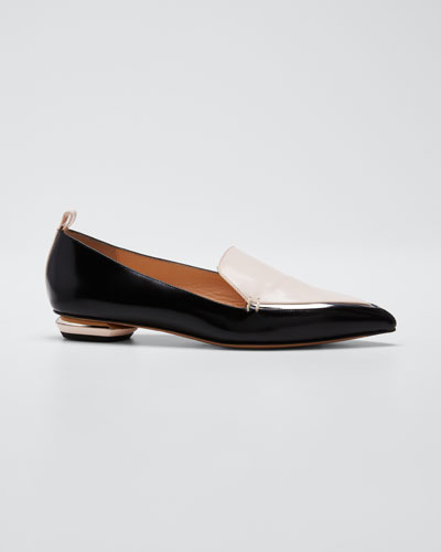 Beya Two-Tone Leather Loafers, Black/Pink