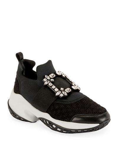 Viv' Run Stretch Crystal Buckle Sneakers