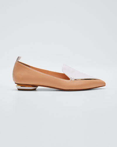 Beya Two-Tone Leather Loafers, Nude
