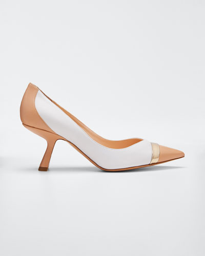 Lexi Colorblock Leather Pointed Pumps, Nude