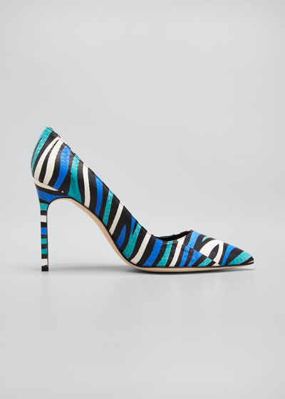 BB 105mm Multicolored Snakeskin Pumps