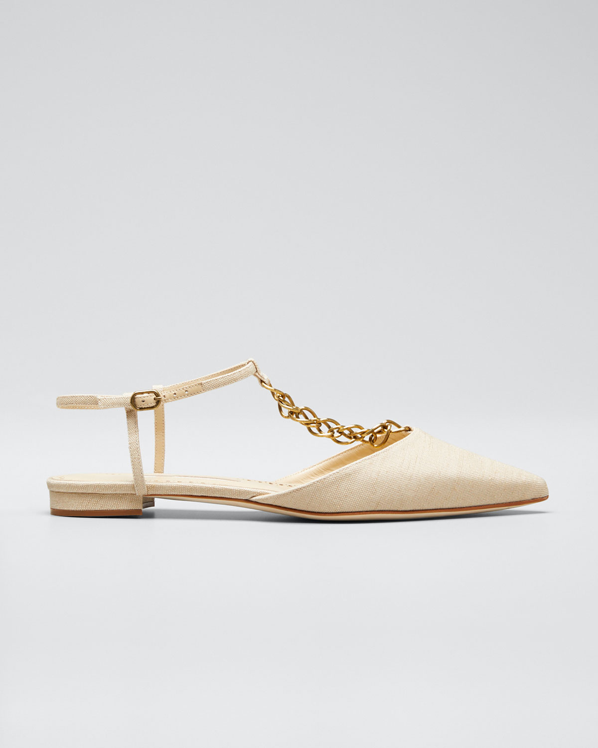 Manolo Blahnik Flats CEFALONIA CHAINED T-STRAP FLAT