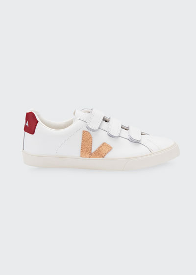 3 Grip-Strap V-Lock  Leather Flat Sneakers
