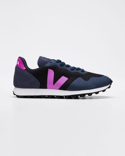 Suede and Mesh Runner Sneakers, Navy