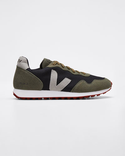 Suede and Mesh Runner Sneakers, Olive