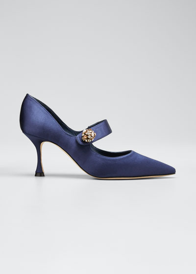 Embellished Satin Mary Jane Pumps
