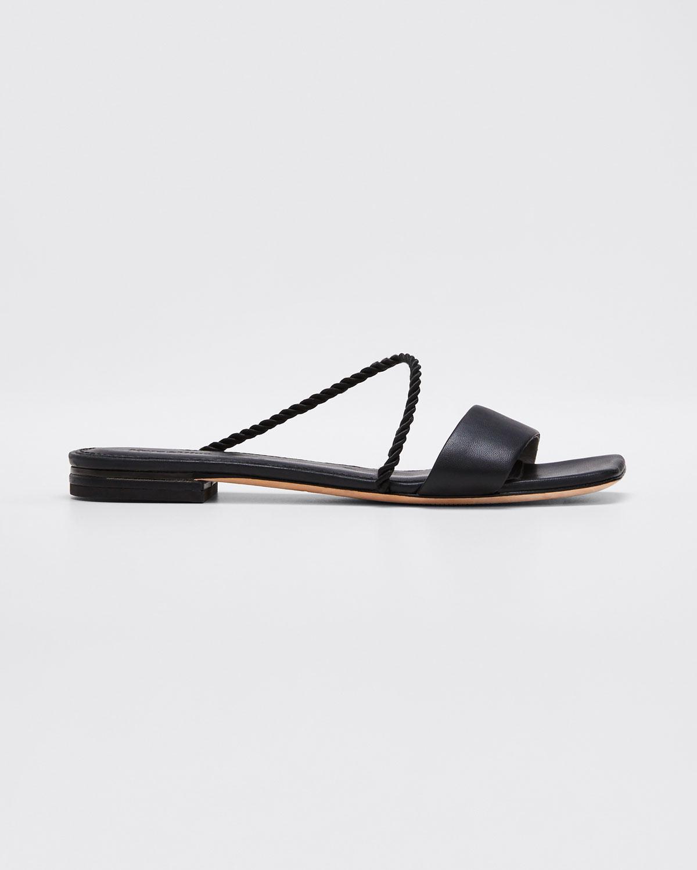 Mara & Mine Bunny Flat Slide Sandals In Black