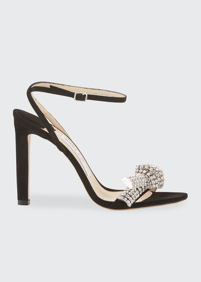 Thyra 100mm Suede Sandals With Crystal Knot