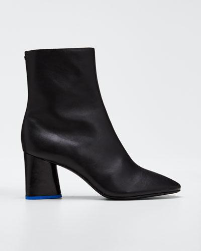Fei Leather Block-Heel Booties