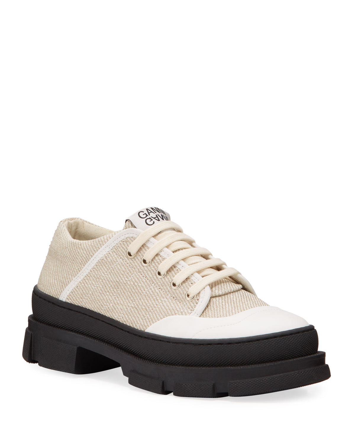 Ganni Sneakers HYBRID CANVAS LACE-UP SNEAKERS