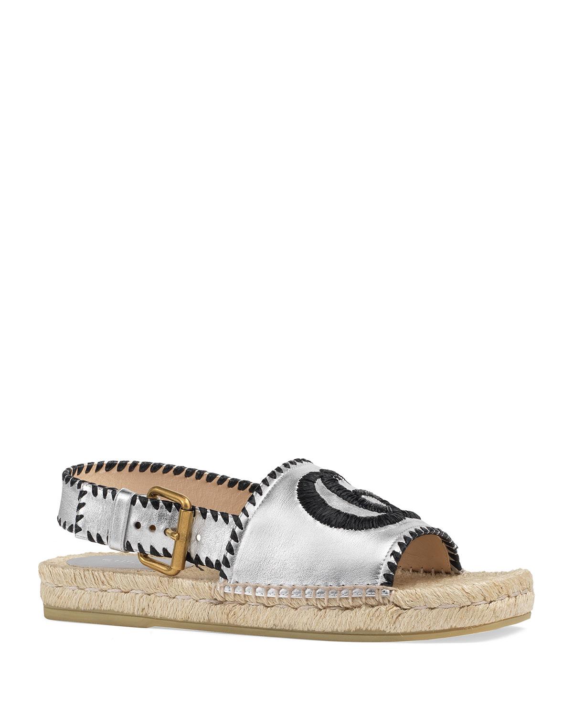 Gucci Sandals PILAR SQUARE-TOE GG ESPADRILLE SANDALS