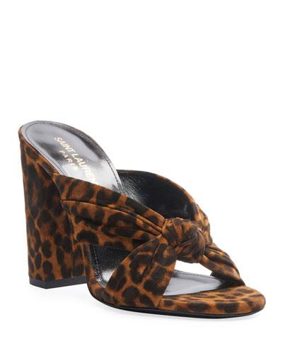 Loulou 100mm Leopard Suede Mule Sandals