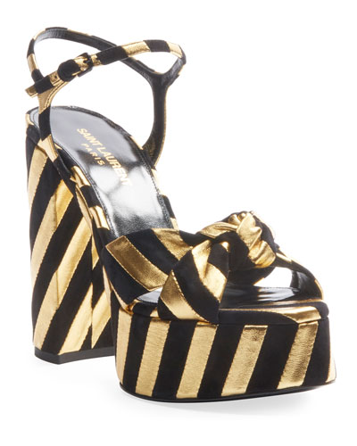 Bianca Metallic Stripe Platform Sandals
