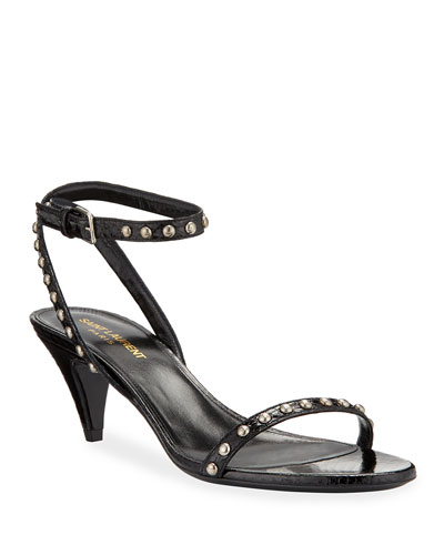 Kiki Studded Snake Ankle-Wrap Sandals
