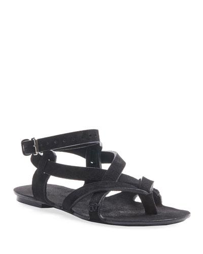 Culver Flat Suede Buckle Sandals