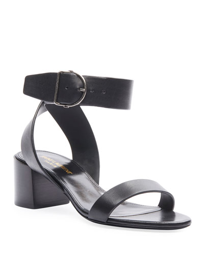 Charlie Buckle Ankle-Strap Sandals