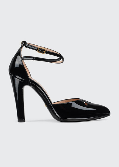 Indya 105mm Patent Ankle-Strap Pumps