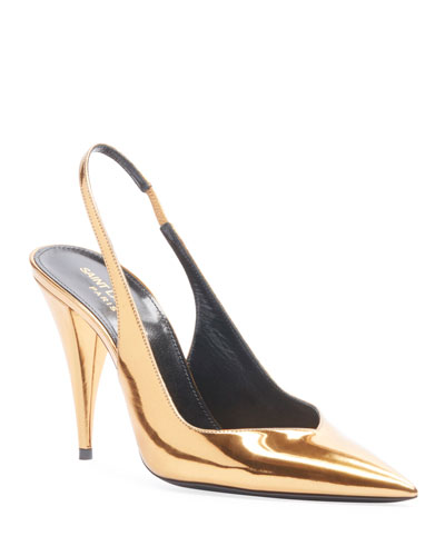 Kiki Metallic Leather Slingback Pumps