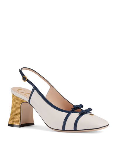 Alison 75mm Leather Slingback Pumps