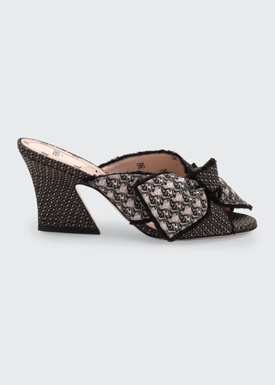 75mm FF Fabric Bow Mule Sandals