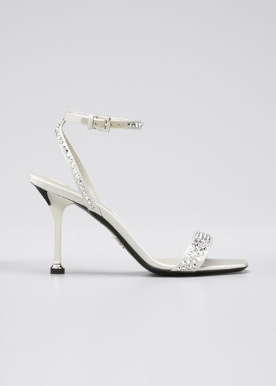 Shimmery Studded Ankle-Strap Sandals