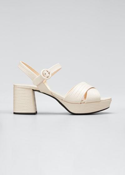 Lizard-Embossed Platform Sandals