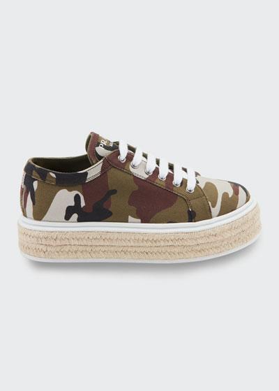 Camo Canvas Platform Sneaker-Style Espadrilles