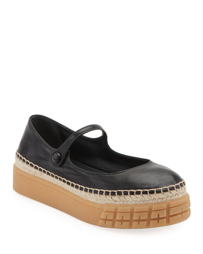 Leather Mary Jane Rubber Ballet Flats